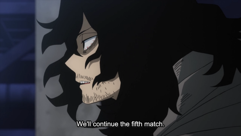 My Hero Academia episode 98 - Aizawa allowing the match to continue