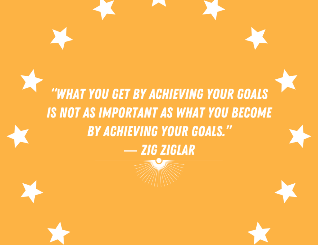 """What you get by achieving your goals is not as important as what you become by achieving your goals."" ― Motivational Quote by Zig Ziglar"