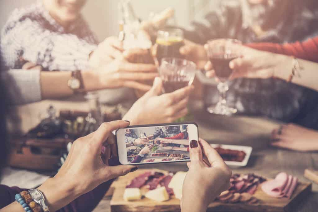 iPhone social media photo of friends drinking