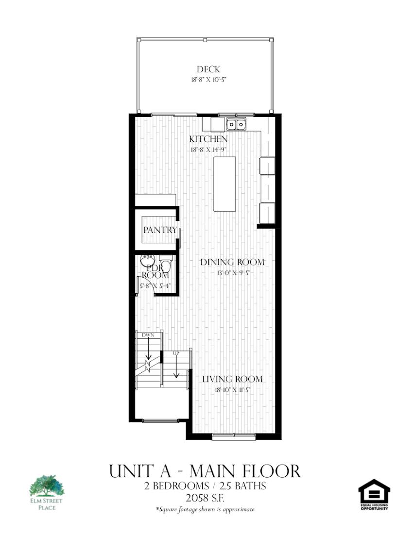 Elm Street Place Luxury Rental Townhomes - Unit A Floor Plan - Main Level