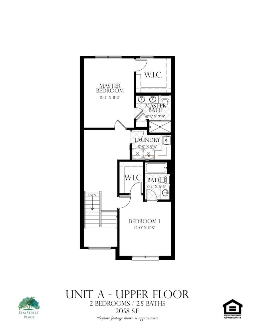 Elm Street Place Luxury Rental Townhomes - Unit A Floor Plan - Lower Level