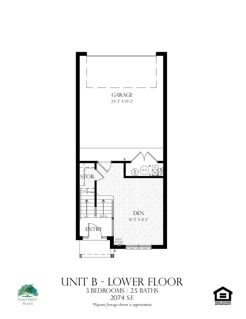 Elm Street Place Luxury Rental Townhomes - Unit B Floor Plan - Lower Level