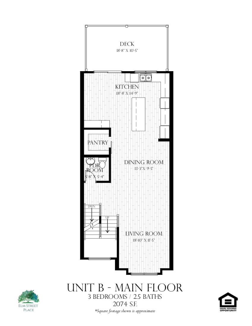 Elm Street Place Luxury Rental Townhomes - Unit B Floor Plan - Main Level