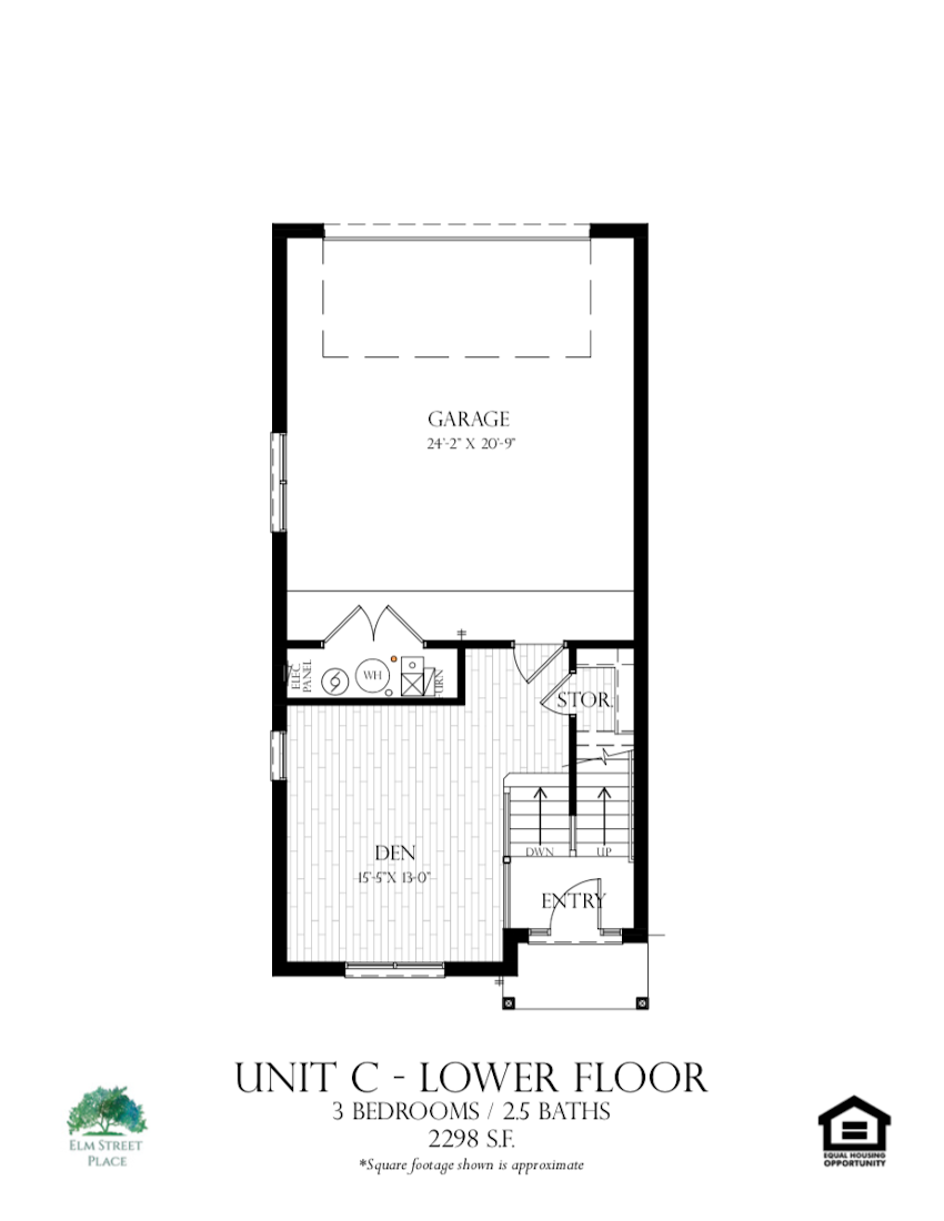 Elm Street Place Luxury Rental Townhomes - Unit C Floor Plan - Lower Level