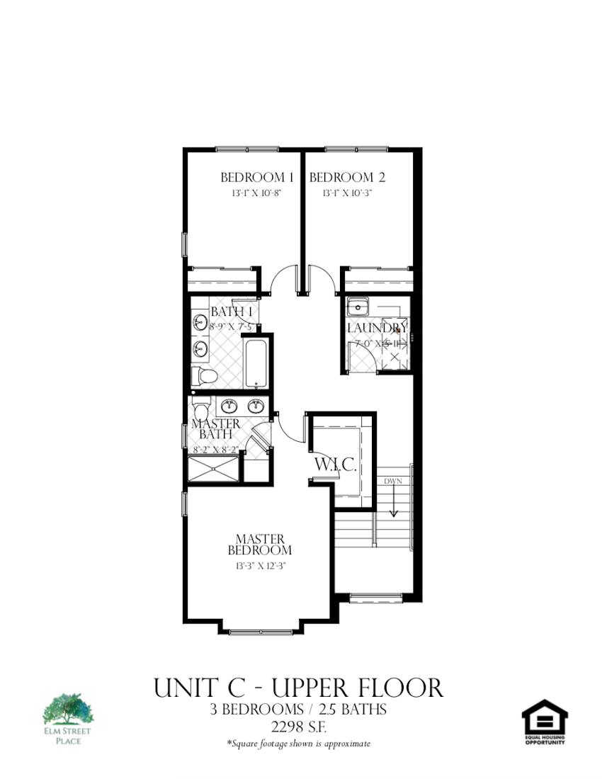 Elm Street Place Luxury Rental Townhomes - Unit C Floor Plan - Upper Level