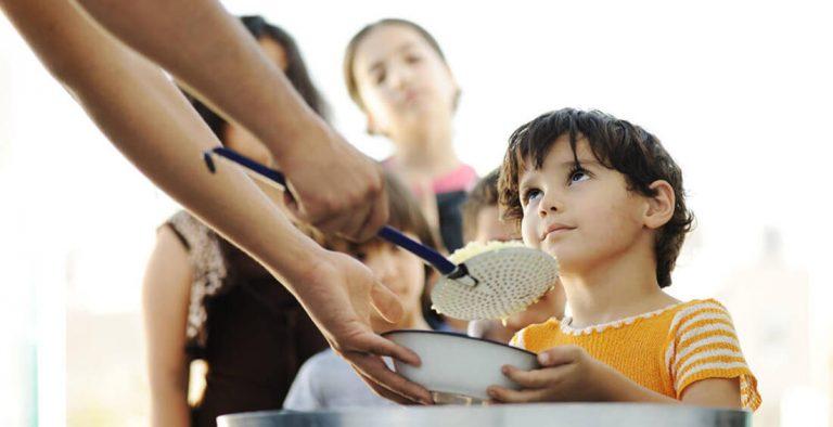 Feeding children rice