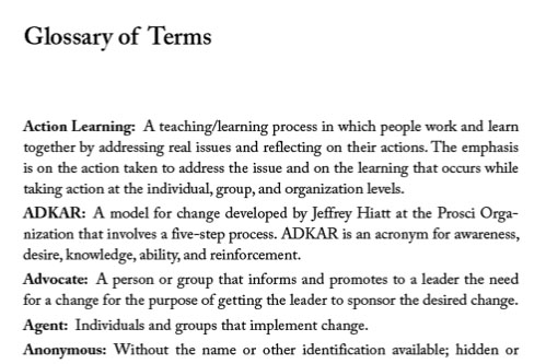 Coaching for Change Glossary