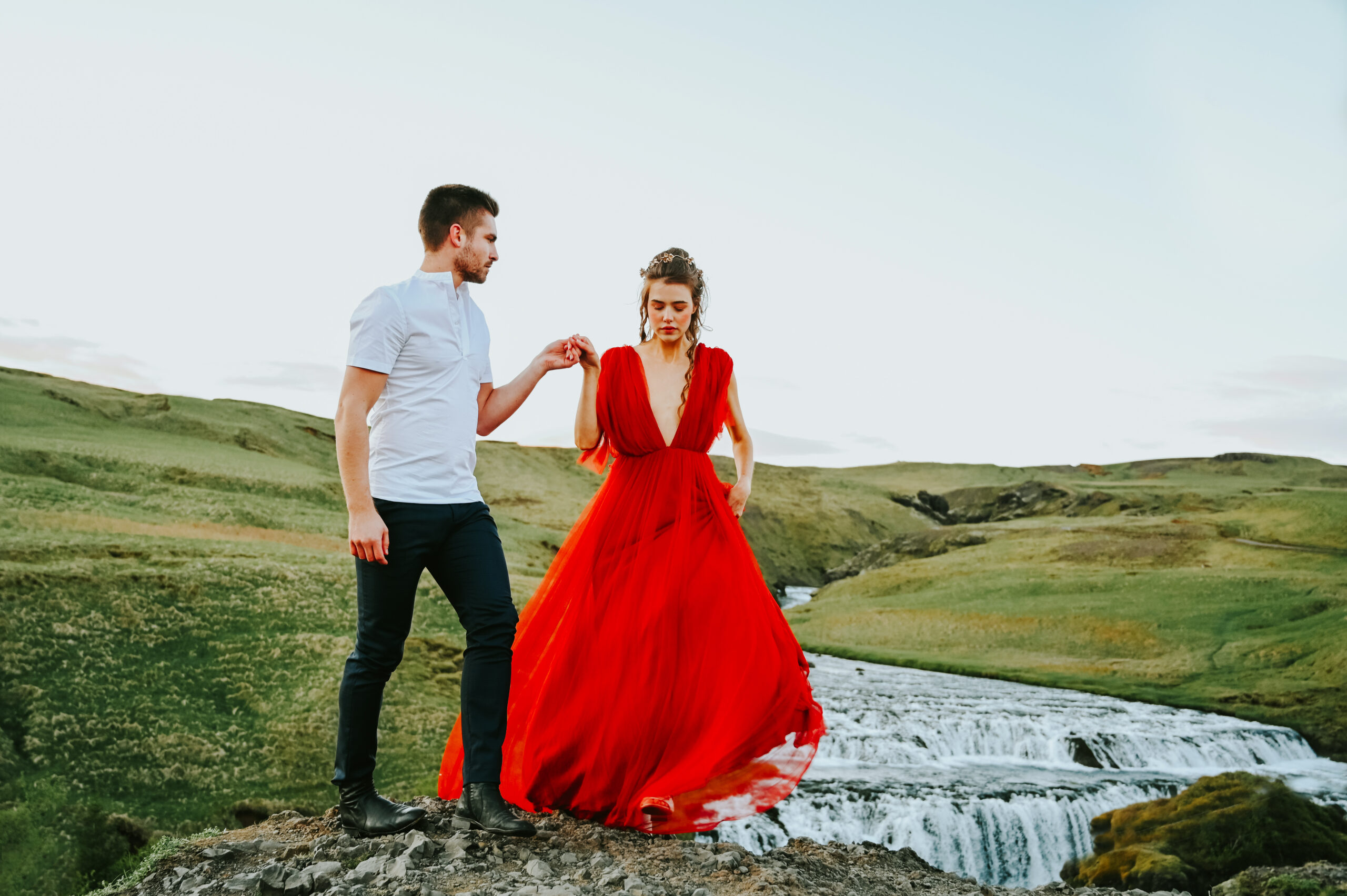 Iceland couple formal session Skogafoss waterfall