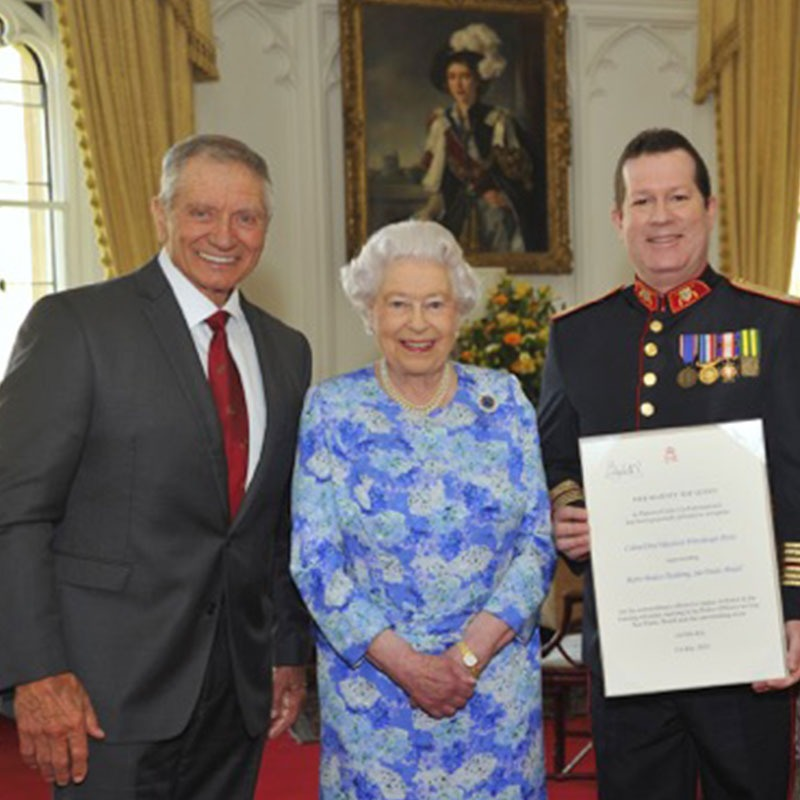 Monty Roberts with the Queen of England and Colonel Perez of Sao Paulo, Brazil