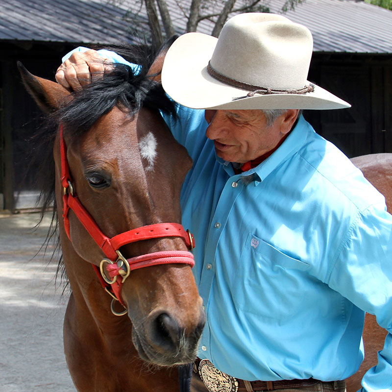Monty Roberts with Shy Boy at Flag Is Up Farms
