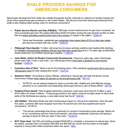 Natural Gas Fact Sheets - Shale Provides savings for American Consumers