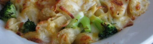 Three Cheese Oven Baked Macaroni and Cheese – shown here with Broccoli