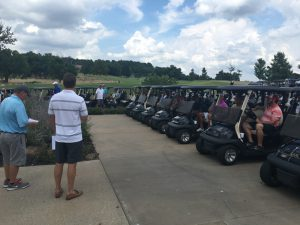 Dr. Matt Diesselhorst addressing the tournament field of 128 coaches and golfers from over 60+ schools at Cherokee Hills Golf Course, where he hosted the 3rd annual Coaches Clinic scramble.