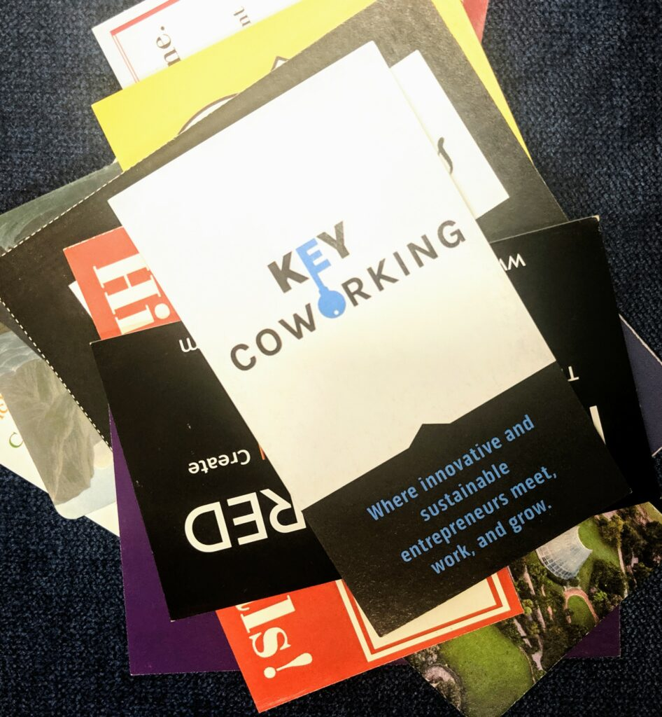 Stack of Business Cards from Networking Event