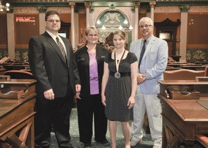 SPIRIT AWARD—State Rep. Tom Pearce, right, welcomed to the Michigan Capitol today Courtney Fedeson and her parents Brian and Jodi Fedeson.  Courtney has been named one of Michigan's two top youth volunteers to receive the 14th Annual Prudential Spirit of Community Award.