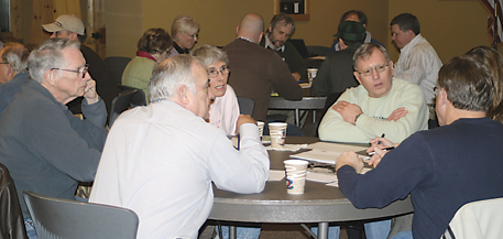 PROTECTION OUR WATERS—Members of the public, facilitated by a Rogue River Watershed Council member, break up into work groups to provide input on a variety of environmental topics.
