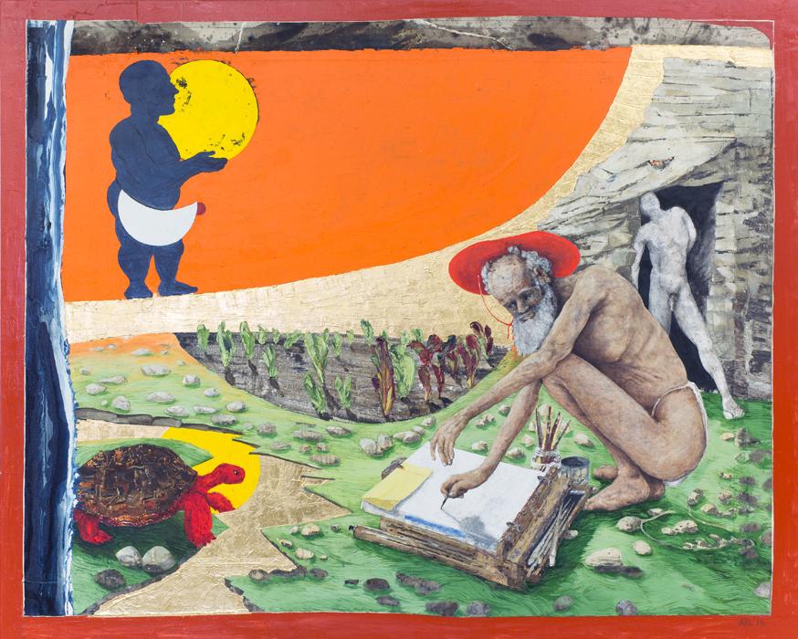 Attila Richard Lukacs, Jupiter and Lucifer, 2015 oil on canvas, gold leaf