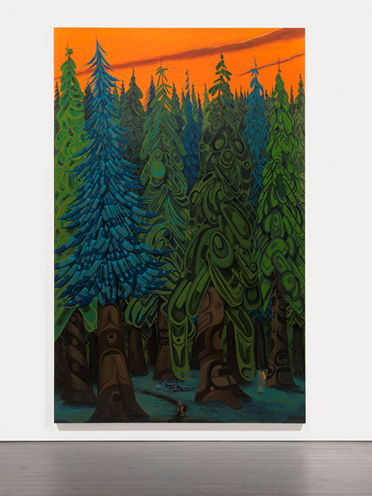 Lawrence Paul Yuxweluptun, Lawrence Paul Yuxweluptun, Natives playing on the Land, 2015, acrylic on canvas, 9' x 6'