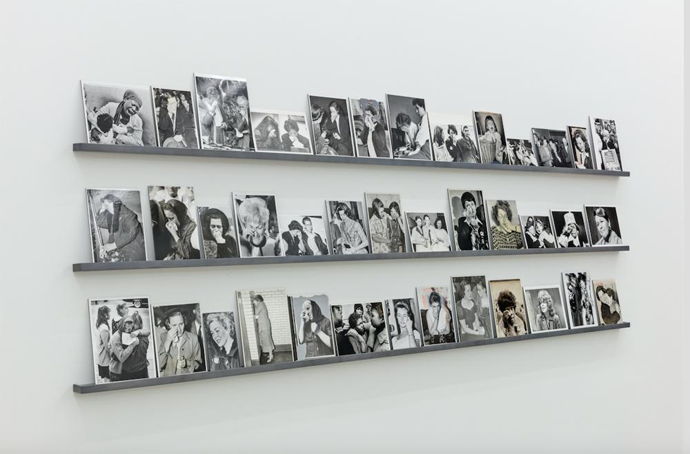 Jonah Samson, 39 Silver Gelatin Photographs mounted to dibond, 2017, custom built shelves, 9 feet long, vertical dimensions variable