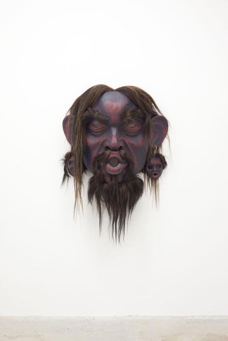 """Tsonaqua, 2012, 35"""" x 45"""" x 16"""", cedar, paint, twine, horse hair"""
