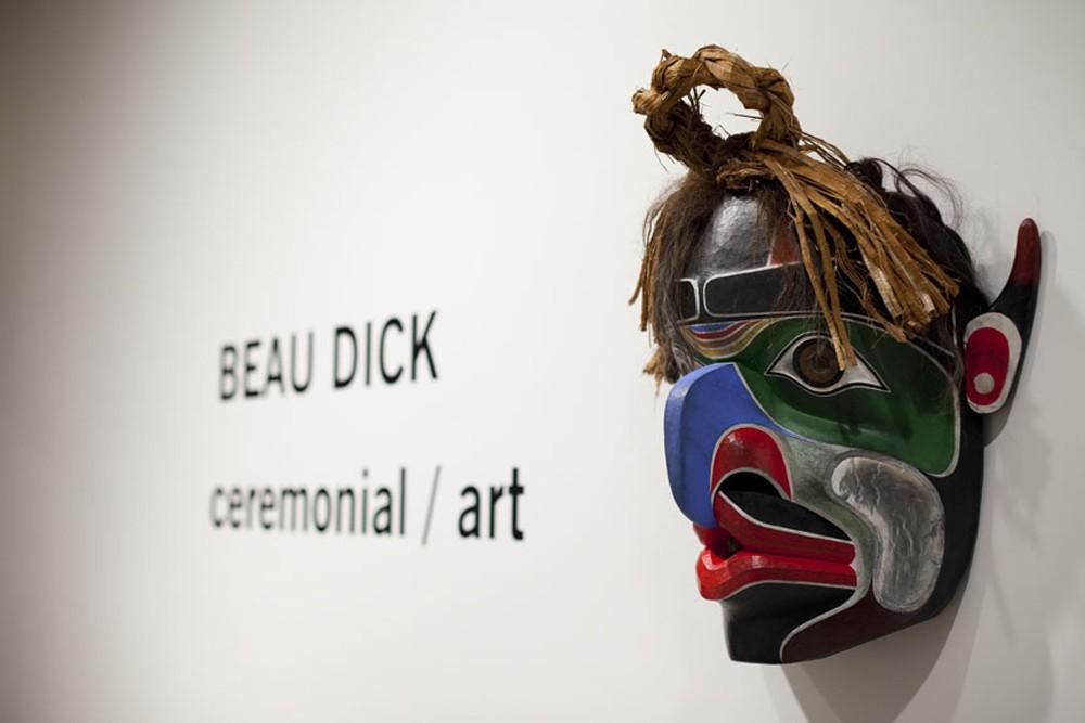 "Installation View, with Bukwus, 2012, 28""x25""x12"", cedar, paint, cedar bark, horse hair"