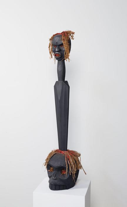 "Sword of Toquit, 2012, 42""x11""x10"", cedar, cedar bark, paint"