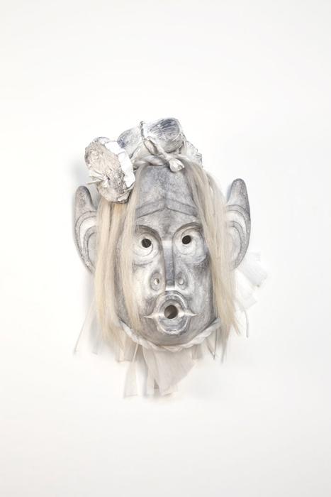 "Pookmis, 2012, 25""x21""x12"", cedar, paint, horse hair, plastic foam"