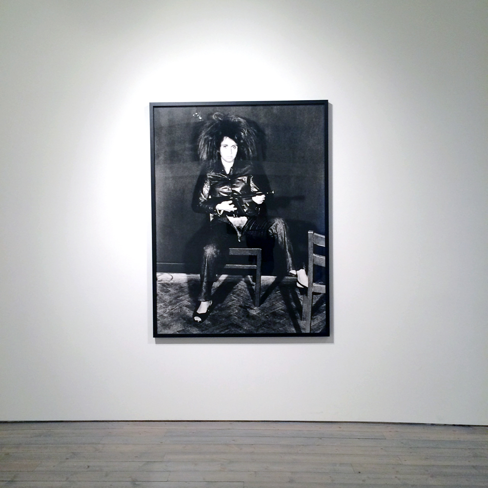 VALIE EXPORT Action Pants: Genital Panic, 1969/2001 Silver gelatin print mounted on aluminum 65 x 48 inches (165 x 122 cm)