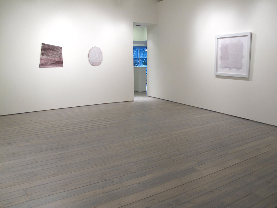 """Installation view, from left: Monique Mouton, The Weather, 2011, Oil on panel, 27"""" X 25"""", Monique Mouton, Untitled, 2008, Oil on panel, 22 1/2"""" X 18"""", Jeremy Shaw, Single Hit of Acid, 2006, C-Print, framed, 36"""" x 36"""" 2/ 3 (AP)"""