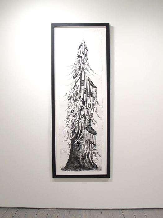 """Lawrence Paul Yuxweluptun, Old Growth Tree, 2012, Etching on St. Armand Paper, 19"""" x 65""""(image size), ed. of 25"""