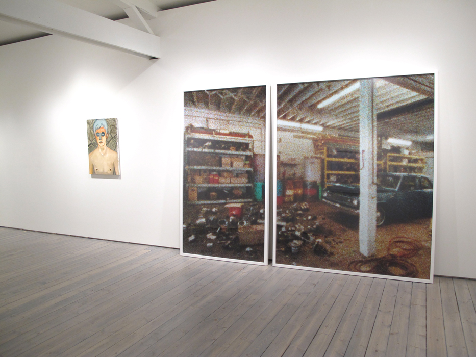 """nstallation view, from left: Brian Kokoska, Frost, 2011, Oil on canvas, 32"""" x 23"""", Mark Soo, Indeterminate Parts, 2010, C-Print, diptych, LEFT: 83"""" X 48"""", RIGHT: 83"""" X 67"""""""