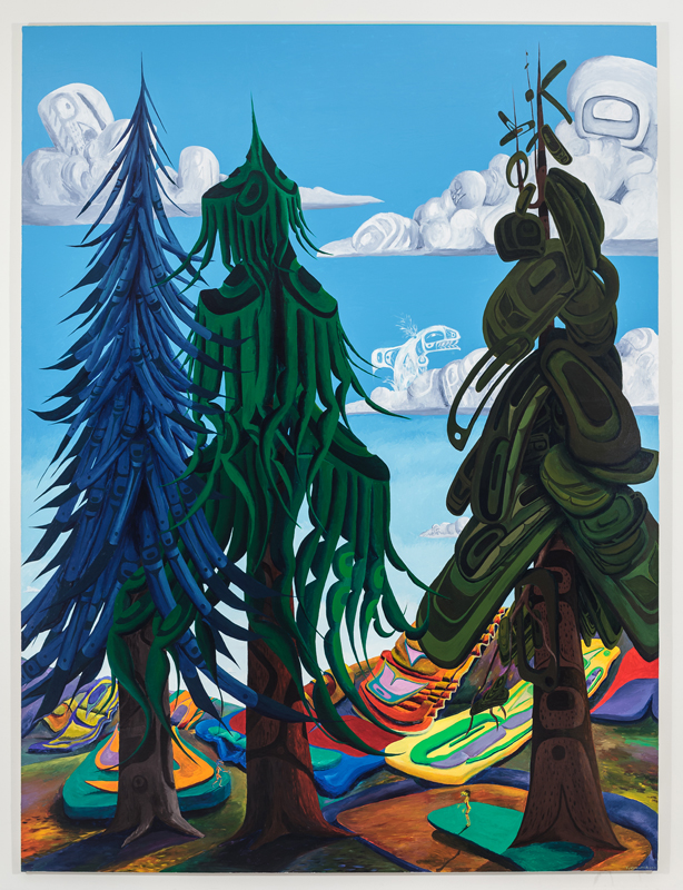 Lawrence Paul Yuxweluptun, Indian World My Home and Native Land, 2012, Acrylic on canvas, 10' x 7'. Photo by Barb Choit.
