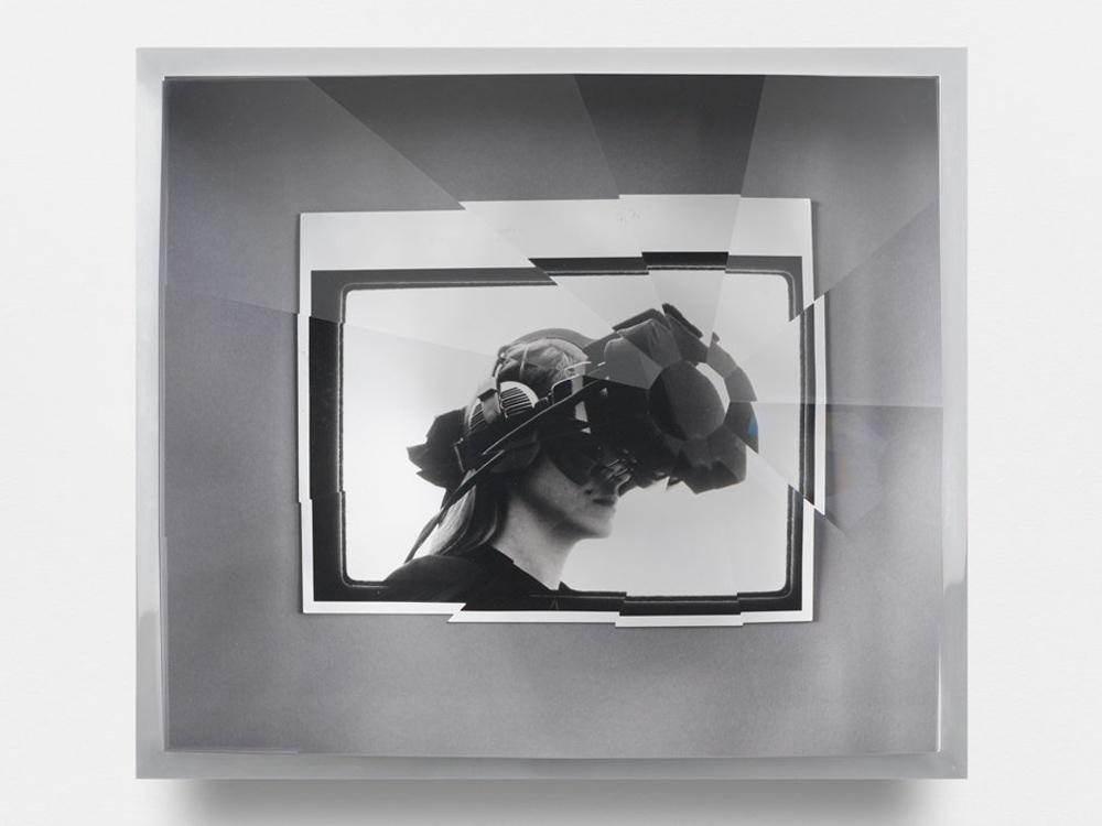 Jeremy Shaw, Towards Universal Pattern Recognition (Copy 9.3.91. Computers. Sep 23 1991) kaleidoscopic acrylic, chrome, archival black/white photograph201637.5 x 42.5 x 16 cm unique.