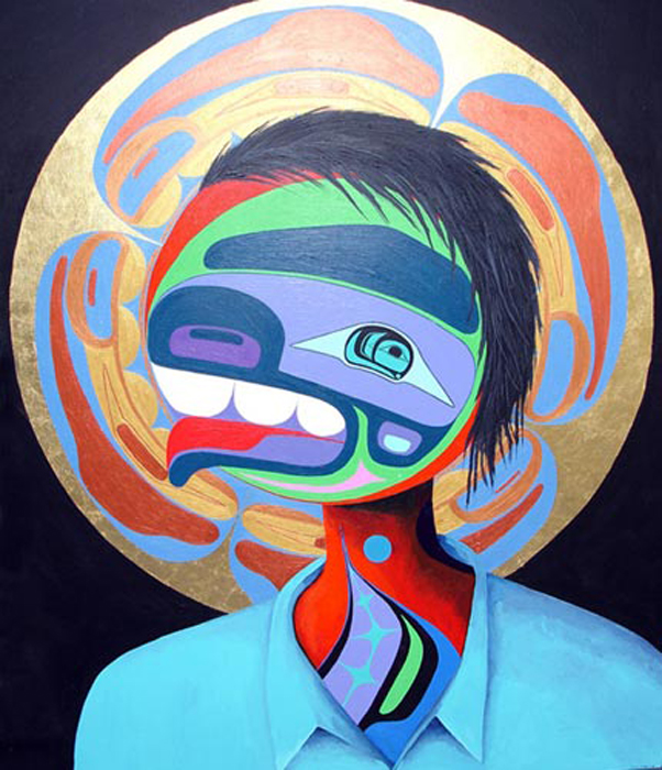 Painting by Lawrence Paul Yuxweluptun. Portrait of a Residential School Child, acrylic on canvas, 162.5 cm x 133 cm, 2005