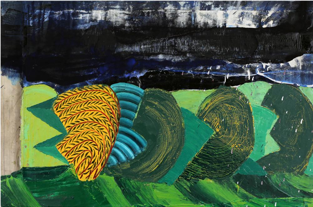 "Attila Richard Lukacs, Landscape with Shrubs, 2014, oil on canvas, 30.25 X 46"""