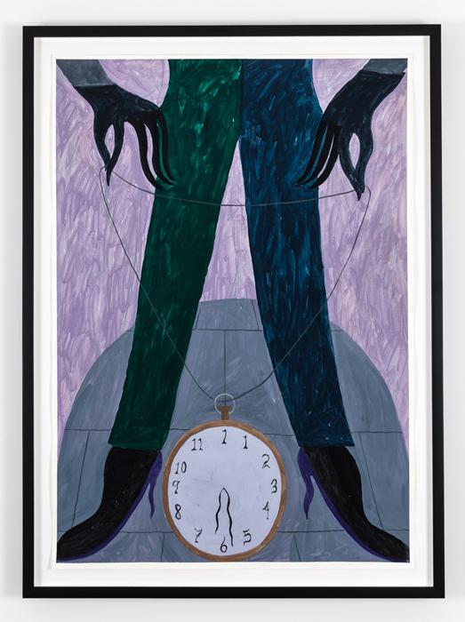 "Soft Clocks ,2014 guache on paper, 43.75 x 32"""