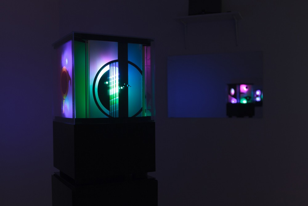 Audrey Capel Doray Here and Beyond, 2014 Plexiglass, LED lights, Wood Letrafilm, Mylar, Mirrors and Steel. Photo credit: Barb Choit