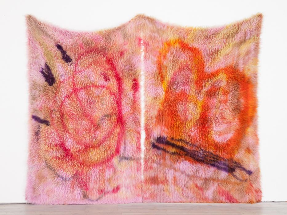 Diluted Delusion, 2014, logwood, acid dye, dye stripper, wool rug.