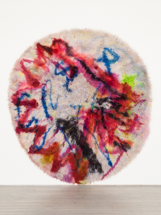 Thicker Ticker, 2014, cochineal, acid dye, wool rug, gel, chalk pastel, hair spray.