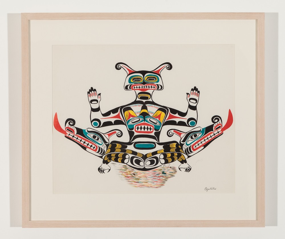 """Double Headed Serpent, 1961 Watercolour on paper, 21.5"""" x 19"""" framed"""