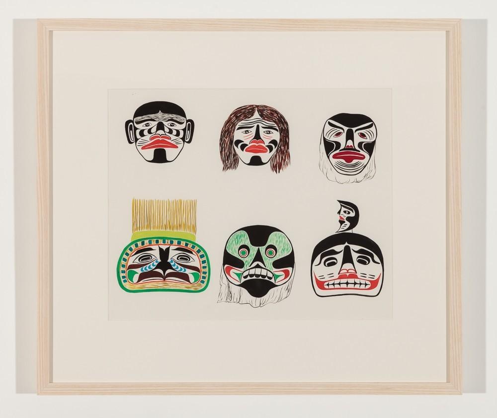 Chief Henry Speck, Portrait Mask, Woman Mask, Sick Fool Mask, Headdress Fronlet, Skull, Moon Mask, 1960 Watercolour on paper