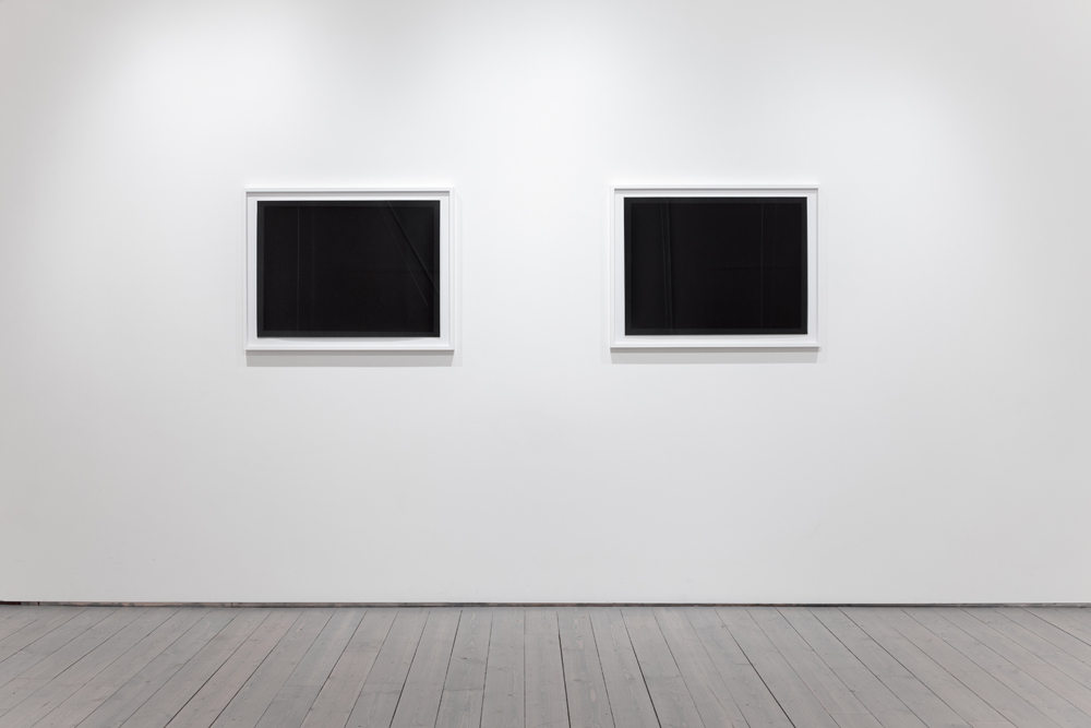 From left to right: Negative folds and lines, 2014, 30 x 22 inches, pigment print, unique. Negative folds and lines, 2014, 30 x 22 inches, pigment print, unique.
