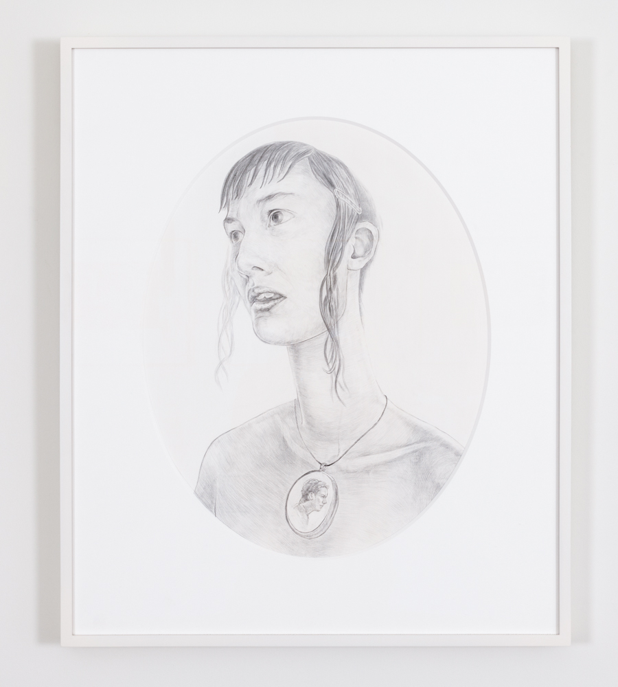"Strange Music, 2015, silver & gold point on prepared paper, oval, 18"" x 15""."