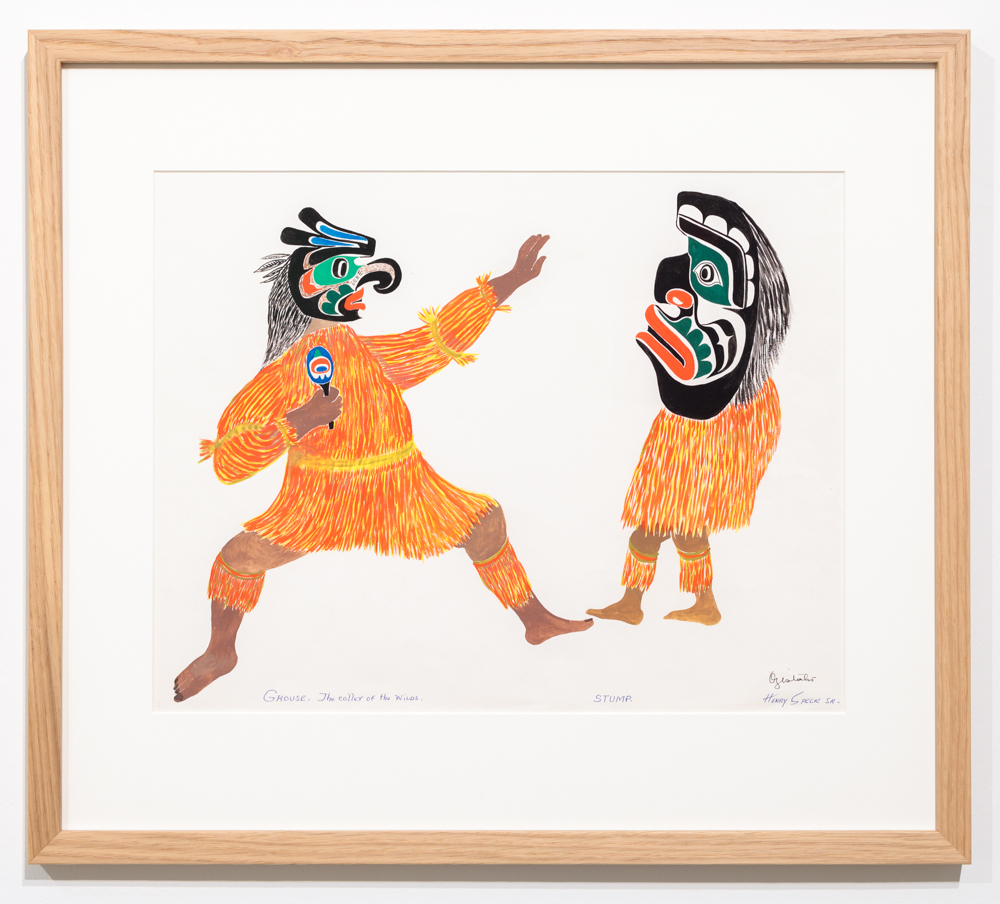 Chief Henry Speck, Grouse - The Caller of the Wids, Stump, 1958, guache on paper.