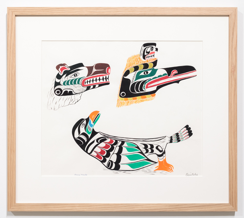 Chief Henry Speck, Grizzly Bear, Loon, Seagull Feast dish, 1960, guache on paper.