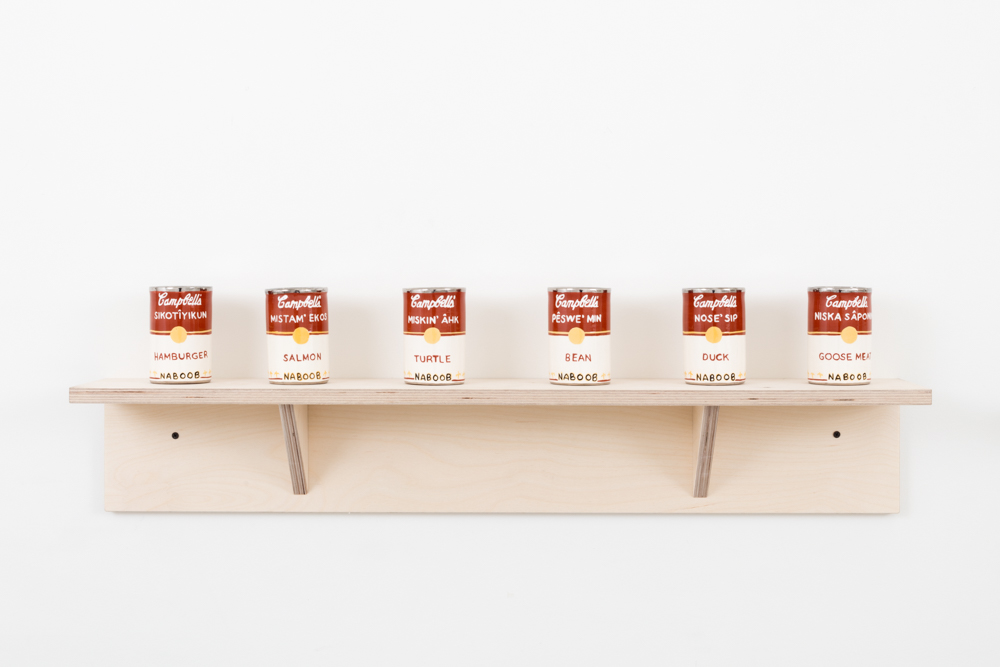 Judy Chartrand Métis Soup (set: Hamburger, Salmon, Turtle, Bean, Duck, Goose Meat) six ceramic cans, 4.5 x 3 x 3 inches each, 2011-15.