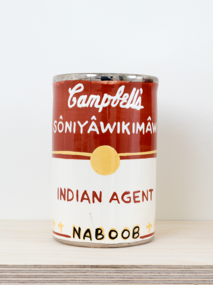 Judy Chartrand Métis Soup (detail), Indian Agent. Ceramic can, 4.5 x 3 x 3 inches, 2011-15.