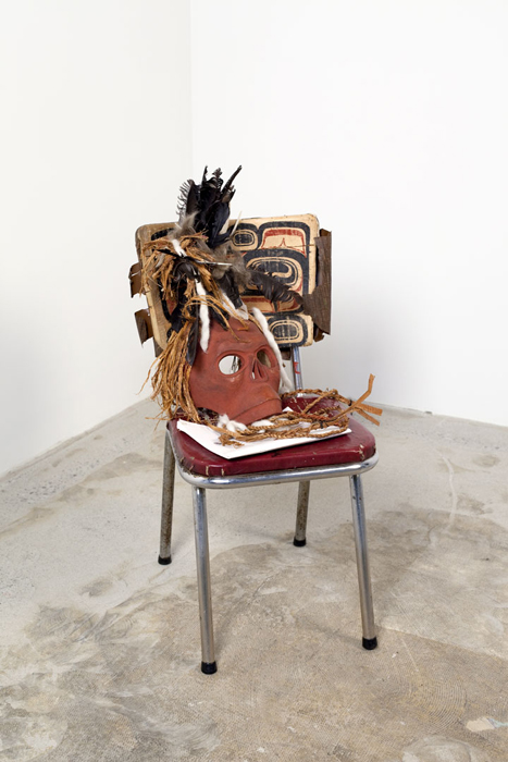 """The Ghost Con-fined to the Chair, 2012, 31""""x13""""x19"""", chair, carving, documents, feathers"""