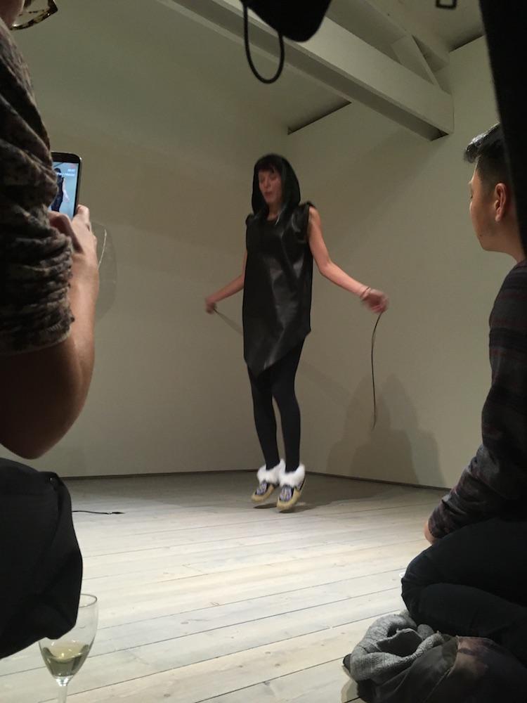 Jeneen Frei Njootli, LUX | MAM, 2017, 10 minute performance. Artist skips with a handmade beaded jumprope.