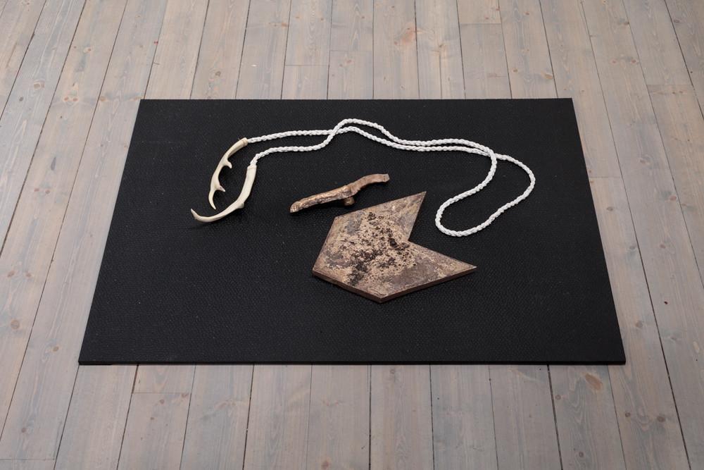"Jeneen Frei Njootli LUX   MAM III, 2017 Bronze, Bleached Caribou Antler Plastic, Leather 48"" L x 35.7 H x 3"" W Photo Credit: Barb Choit"